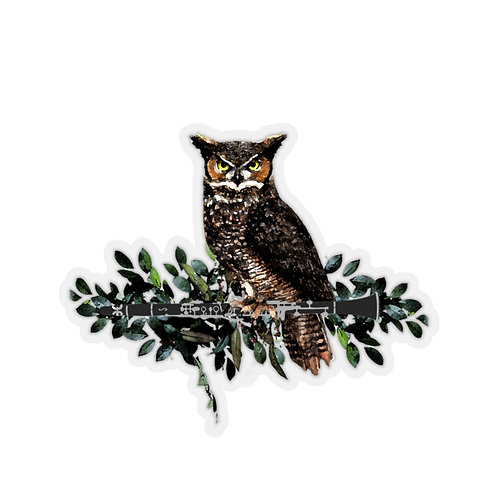 Owl on a Clarinet Branch Kiss-Cut Stickers