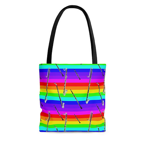 Rainbow Stripe & Clarinets Tote Bag