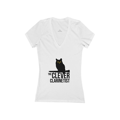 Clever Clarinetist Women's Jersey Short Sleeve Deep V-Neck Tee