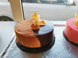 Himbeermousse und Haselnussmousse Torte