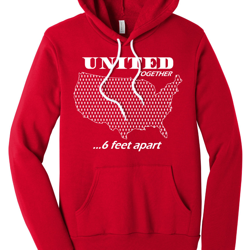 6 Feet Apart: United Together 6 Feet Apart Super Soft Hoodie