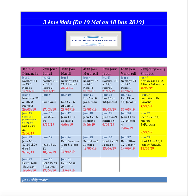 Calendrier Biblique.Le Calendrier Des Convocations Moadim Solennelles 2019
