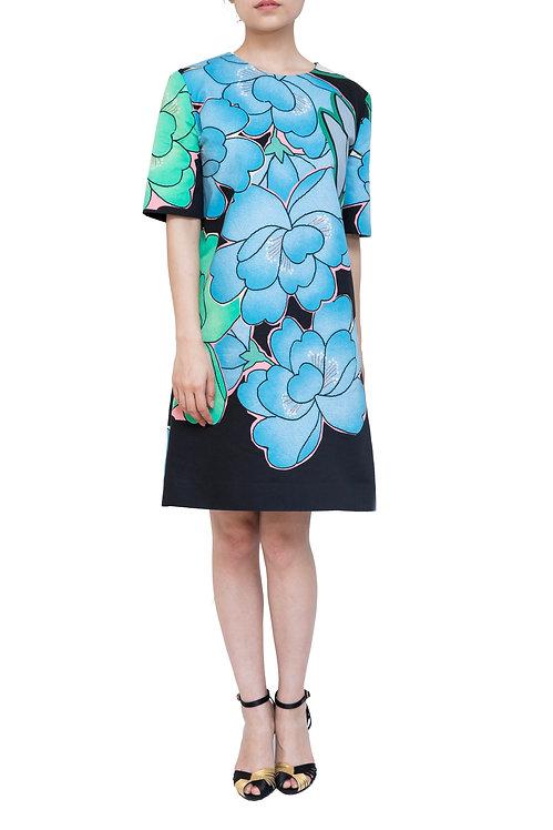 MARNI BLUE BLACK DRESS FLORAL 花柄 マルニ 青 黒 ブルー ブラック ドレス ワンピース 半袖 パーティー 春夏