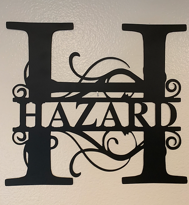 Custom Monogram Metal Sign