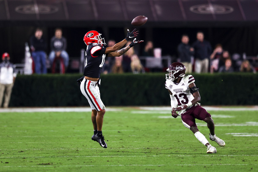 UGA wide receiver Demetris Robertson catches a pass during the second half of the UGA versus Mississippi State football game in Athens, Georgia on Saturday, Nov. 21, 2020. UGA won the game 31-24.