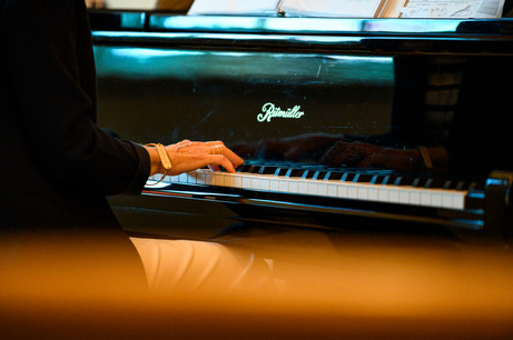 Pam Bowen plays the piano at Winterville First Baptist Church in Winterville, Georgia on Sunday, May 24, 2020. Only the Wages family, technology operators, and worship band members were inside the church for the live stream during the normal church service time.