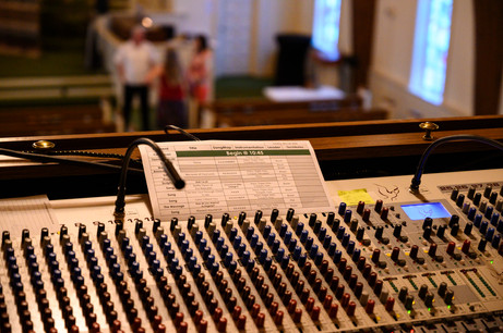 A church service schedule on the soundboard in Winterville, Georgia on Sunday, May 24, 2020. On April 5, 2020, the church stopped meeting in person and switched to live streamed services.
