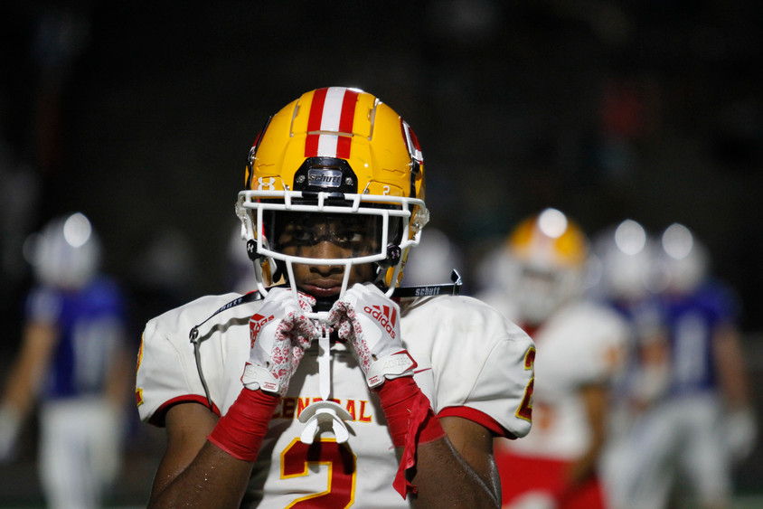 A Clarke Central High School football player grips their helmet on Friday, Sep. 18, 2020. Clarke Central lost to Oconee County High School 24-7.