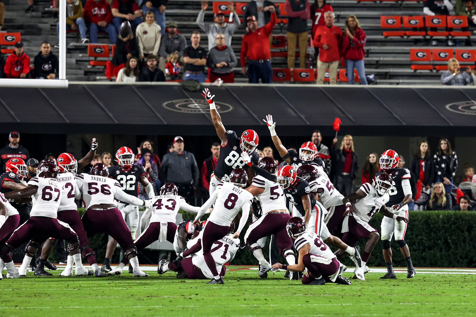 Scenes from the first half of the UGA versus Mississippi State football game in Athens, Georgia on Saturday, Nov. 21, 2020. At halftime, the game was tied 17-17.