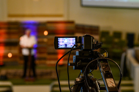 A video camera records Pastor Phil Wages at Winterville First Baptist Church in Winterville, Georgia on Sunday, May 24, 2020. On April 5, 2020, the church stopped meeting in person and switched to live streamed services.