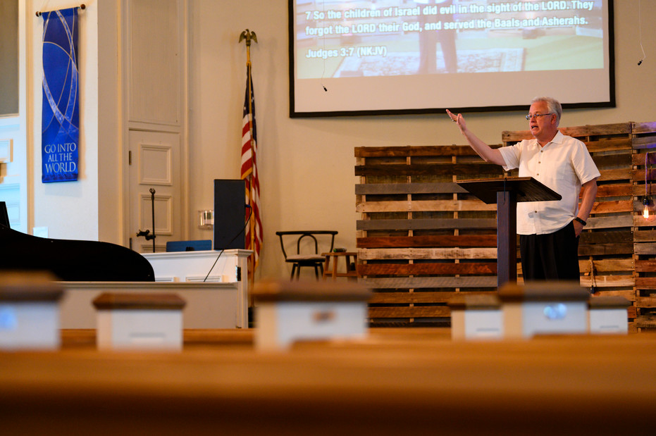 Pastor Phil Wages delivers his message on the book of Ruth at Winterville First Baptist Church in Winterville, Georgia on Sunday, May 24, 2020. Wages said preaching to a camera is very different than what he's used to, as he doesn't have the audience feedback and connection that he normally would with a room full of churchgoers.