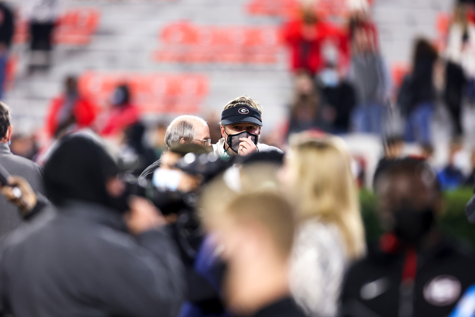 UGA head coach Kirby Smart leaves the field at the conclusion of the second half of the UGA versus Mississippi State football game in Athens, Georgia on Saturday, Nov. 21, 2020. UGA won the game 31-24.