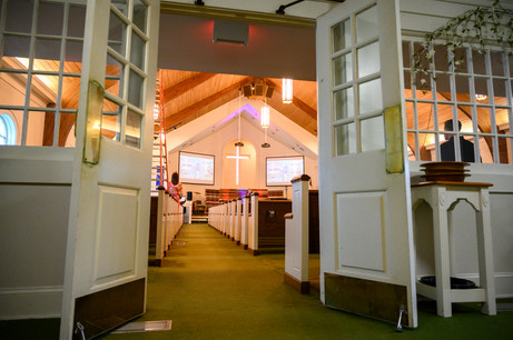 An empty lobby at Winterville First Baptist Church in Winterville, Georgia on Sunday, May 24, 2020. On April 5, 2020, the church stopped meeting in person and switched to live streamed services.
