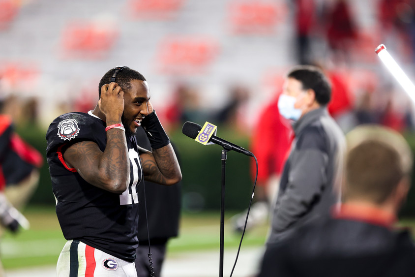 UGA wide receiver Kearis Jackson speaks in an interview at the conclusion of the second half of the UGA versus Mississippi State football game in Athens, Georgia on Saturday, Nov. 21, 2020. UGA won the game 31-24.