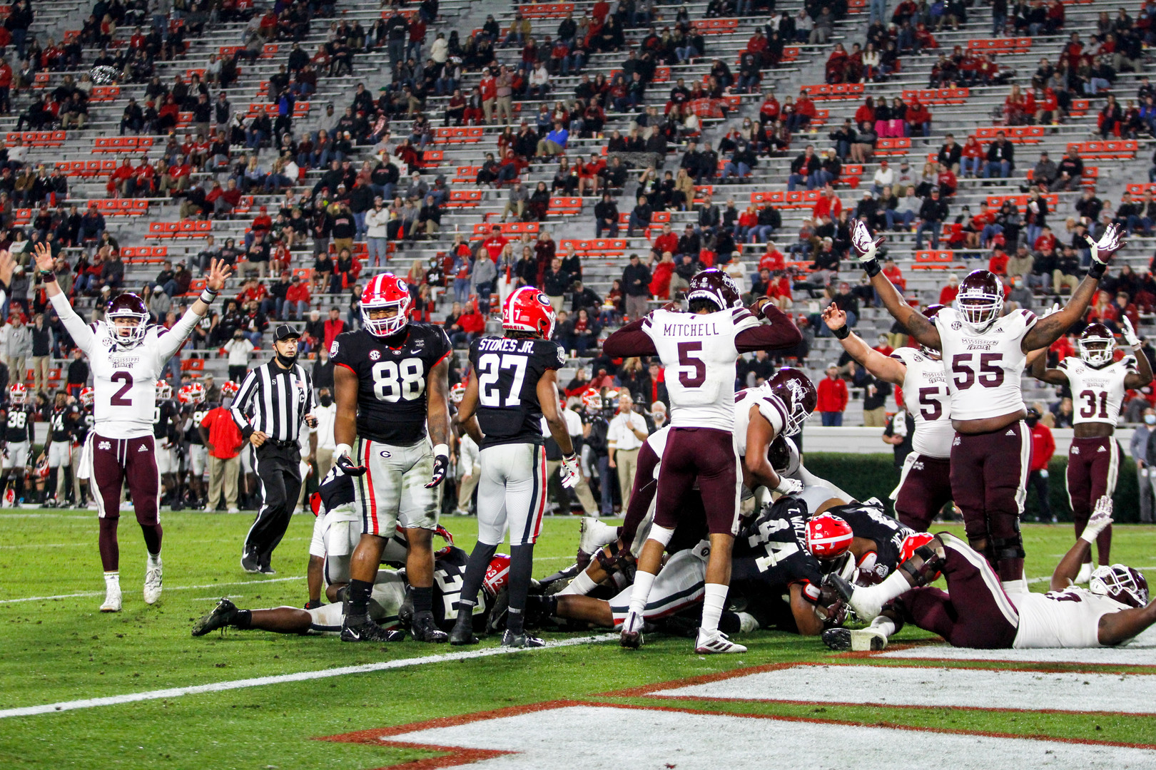 Mississippi State players celebrate a touchdown during the second half of the UGA versus Mississippi State football game in Athens, Georgia on Saturday, Nov. 21, 2020. UGA won the game 31-24.