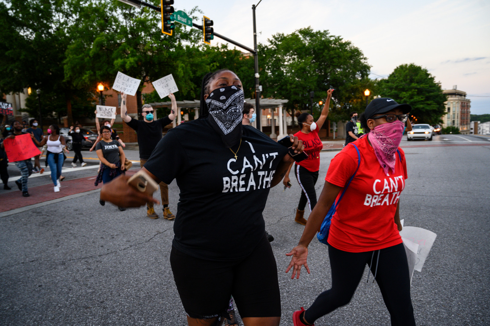 Protesters march and chant in Athens, Georgia on Sunday, May 31, 2020. Two non-violent protests joined together at the UGA arch, both calling for racial justice and an end to police brutality following the death of George Floyd in Minneapolis six days earlier.