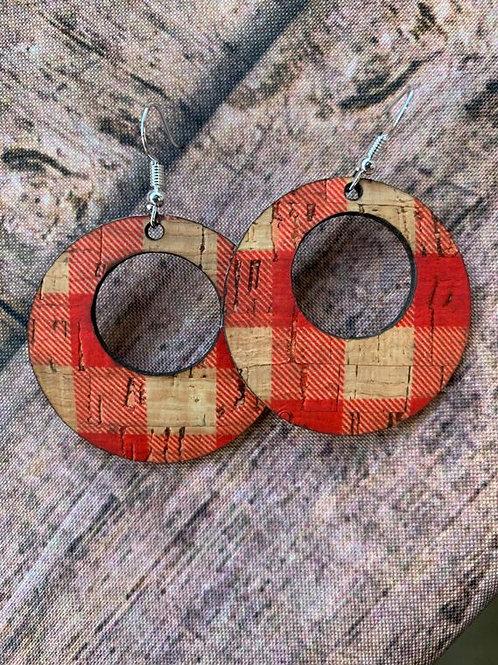 Red Buffalo Check Cork Earrings