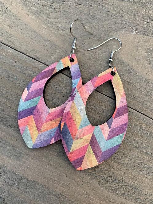 Rainbow Chevron Cork Leather Teardrop Earrings