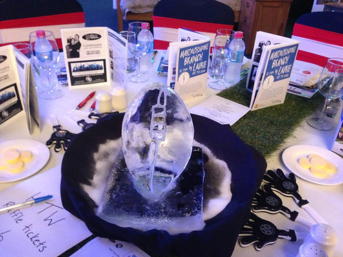 RUGBY BALL TABLE CENTREPIECE ICE SCULPTURE