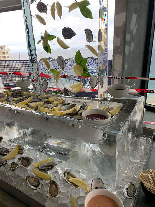 BUFFET DISPLAY WITH LOGO ICE SCULPTURES