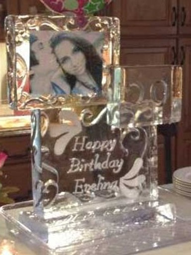 CUSTOM BIRTHDAY ICE SCULPTURE (WITH PHOTO FROZEN INSIDE)