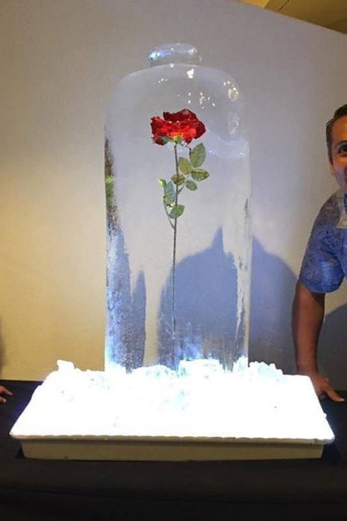 ENCHANTED ROSE ICE SCULPTURE
