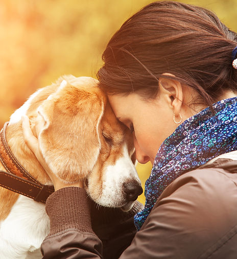 Woman with her dog tender scene.jpg