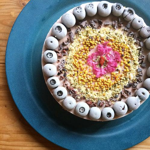 夏をまとうローケーキ*神山産ブルーベリーのマスカルポーネ風