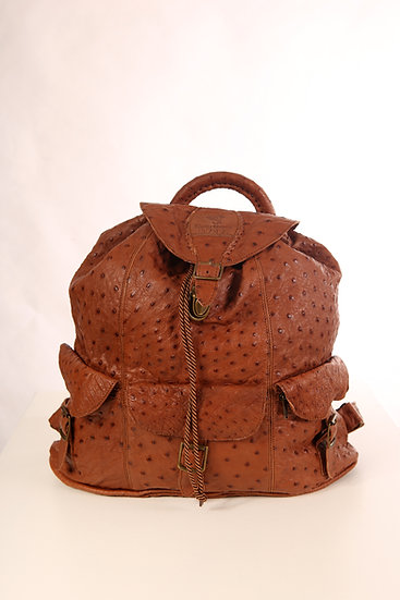 Courteney Haversack/Backpack in ostrich leather