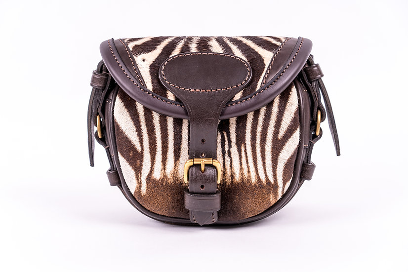 small cartridge bag in game hide -zebra