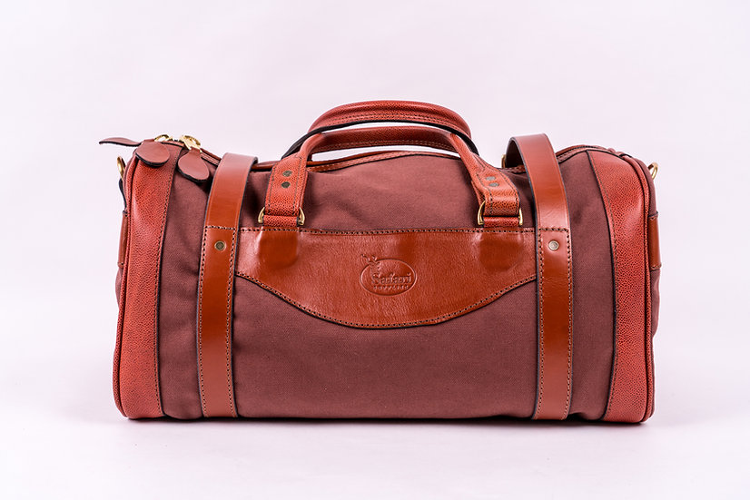 Canvas and Leather Duffle Bag - Medium