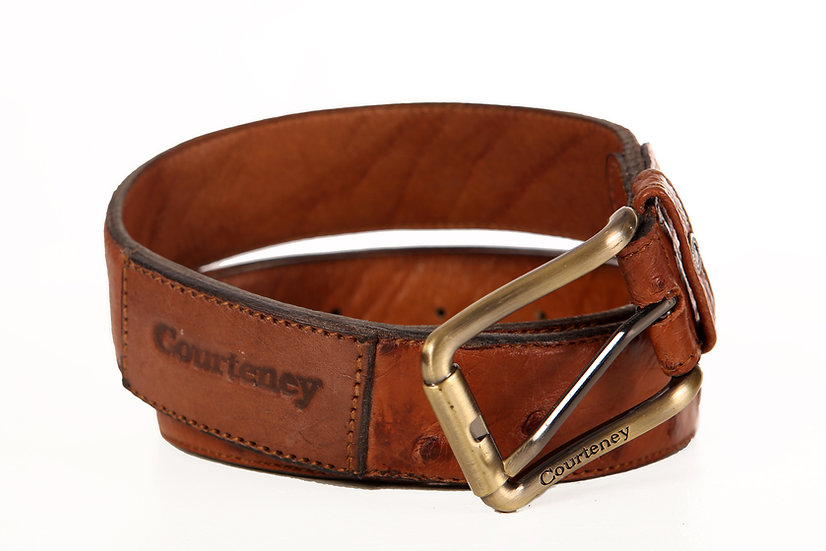 Courteney Belt in tan Ostrich leather