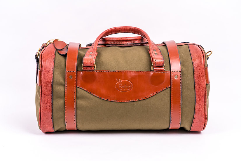 bespoke duffel bag in canvas and leather