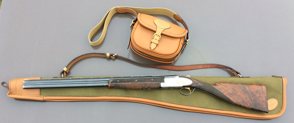 English shotgun slip in canvas and leather