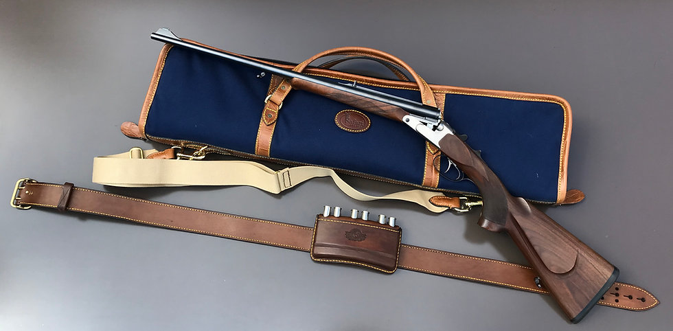 Canvas and leather cricket bag / gun slip for double rifles and shotguns