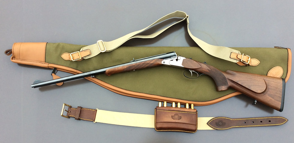 English gun slip for (scoped) double rifle in canvas and leather