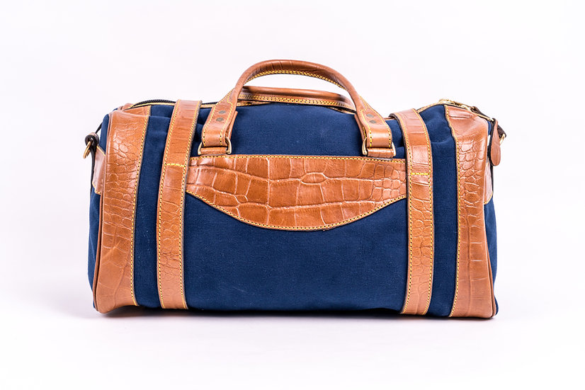 london best quality duffel bag in bleu canvas and leather