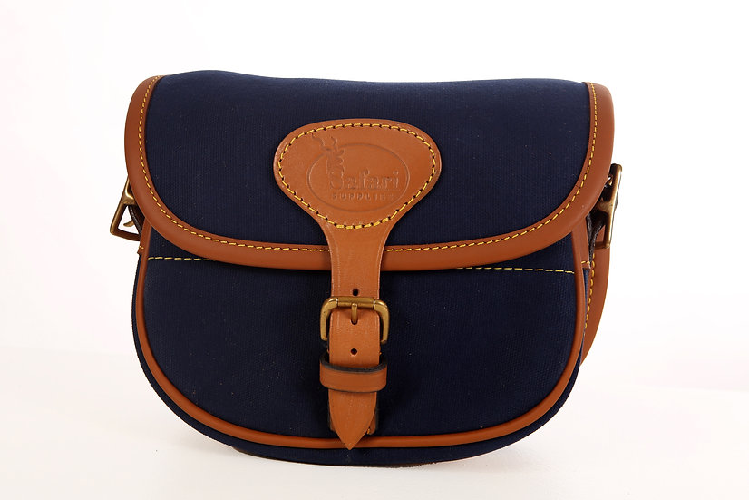 Cartridge Bag in Tan Leather and Bleu Canvas