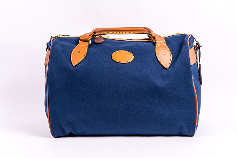 Bespoke overnight bag in bleu canvas and leather
