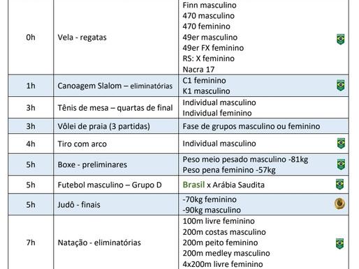 Olimpíada: Competições com o Brasil 4feira 28/7