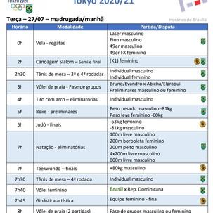 Olimpíada: Competições do Brasil nesta 3feira 27/7