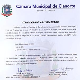 Câmara de Cianorte convoca Audiência Pública: Previdência