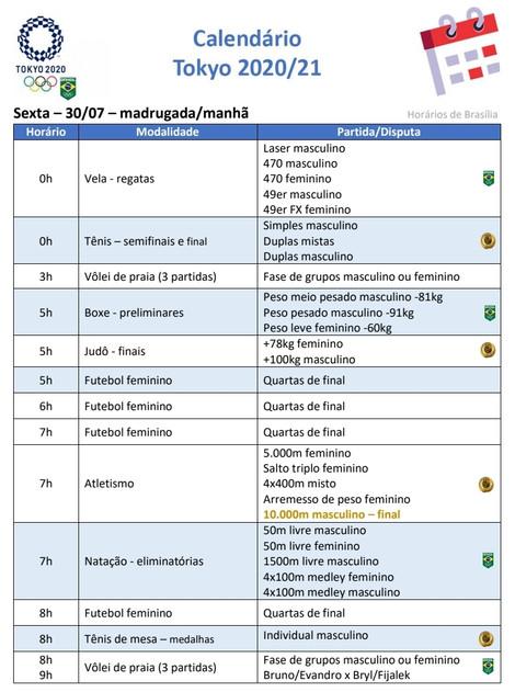 Olimpíada: Competições com o Brasil 6feira 30/7