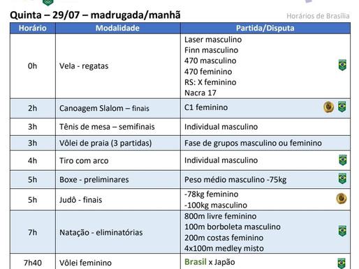 Olimpíada: Competições do Brasil nesta 5feira 29/7