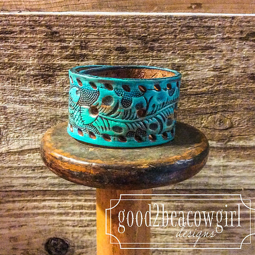 Boho Cowgirl Leather Cuff~ Turquoise