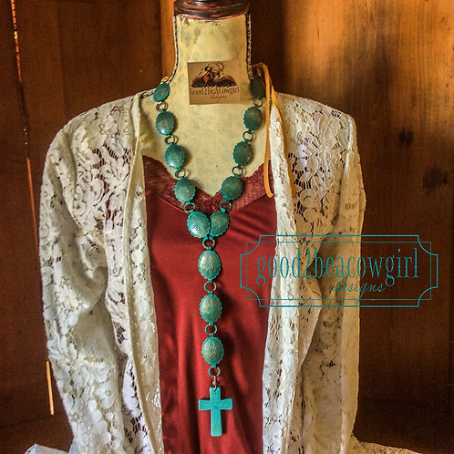 Cowgirl Western Vintage Concho Statement Necklace~ Rosario
