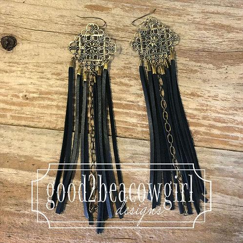 Boho Cowgirl Black Fringe Earrings~ Tayanna