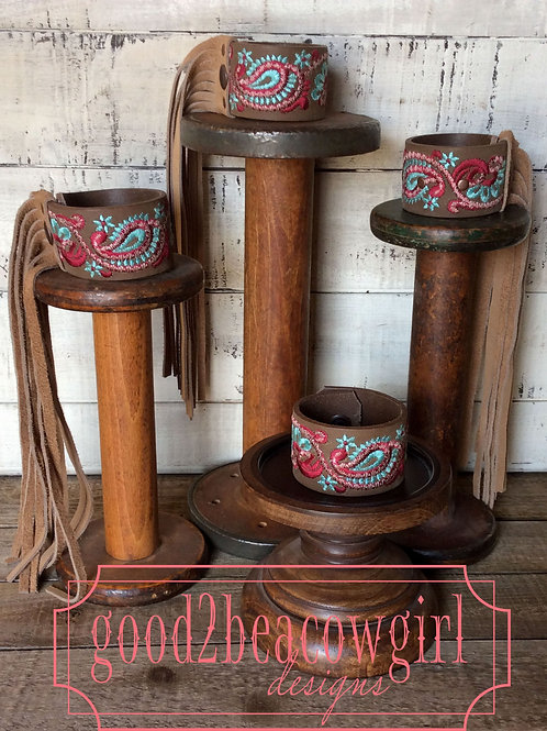 Cowgirl Leather Cuff~ Paisley Please
