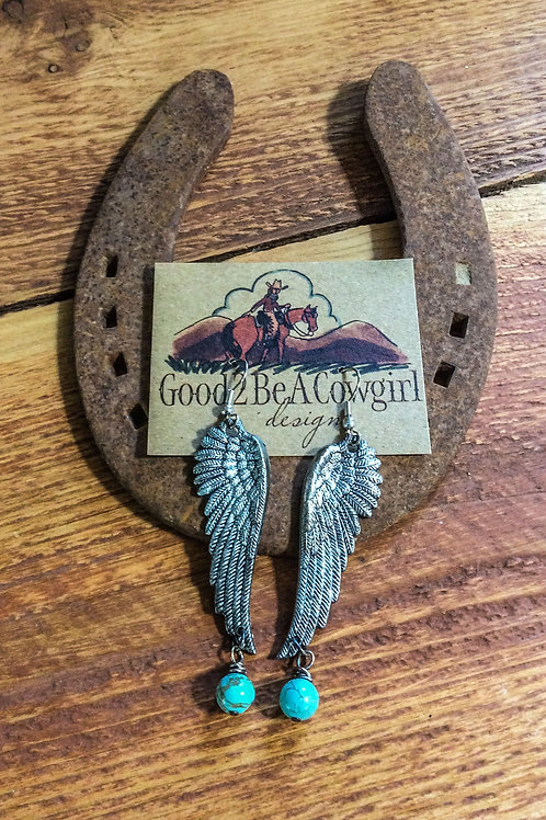 Cowgirl Silver Angel Wing Earrings with turquoise dangle