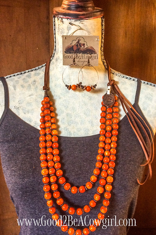Boho Western Cowgirl Statement Necklace Set with horse charm~ Red Mare